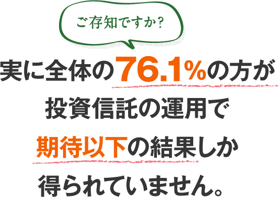 実に全体の76.8%の方が投資信託の運用で期待以下の結果しか得られていません。